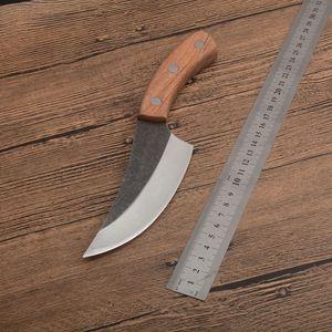 1 pcs nova faca de cozinha alta aço carbono lâmina de cetim completa alça de madeira fixa facas fixas de lâmina ao ar livre camping faca de caça