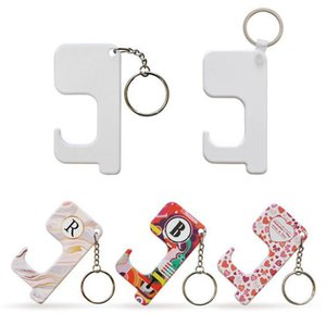 Sublimation Keychain Non-contact Door Handle Keychain Plastic DIY Blank Key Rings Safety Touchless Door Opener party favor CCA2737
