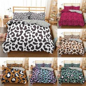 Homesky Leopard Print Bedding Set Comforter Sets with Pillowcase Bedding Set Home Textiles Queen king Size Duvet Cover 201021