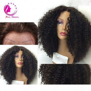 Short glueless human hair lace front wig for black women virgin human hair short curly full lace bob wig bleach knots