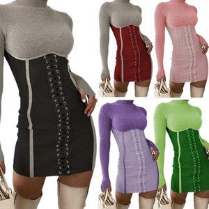 Женские платья кружева шить сексуальная мода Slim One Step юбка осень и зима стоящий воротник бандажные платья горячие продажи lababy192