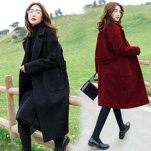 품질 대형 숙녀 비료가 뚱뚱한 MM 모직 헝겊 코트를 덮고 200 Jins Belly Show 얇은 천으로 코트 여성