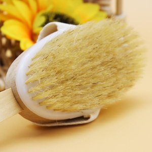 Dry Skin Body Brush with Long Detachable Non-slip Handle 100% Natural Bristle Bath Shower Brush Blood Circulation & Exfoliation PPD3216