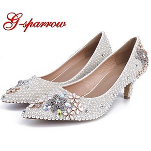Pointed Toes Rhinestone Lower Thin Heel Wedding Bridal Shoes White Pearl Beautiful Party Prom Shoes Mother of the Bride