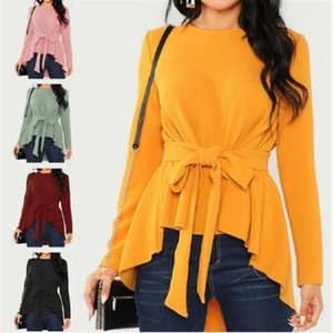 Plus Size Women Tops Shirt Fashion Long Sleeve Bowknot Belt Lace Up Blouse Tunic Ladies O neck Solid Color Shirts Blusas S