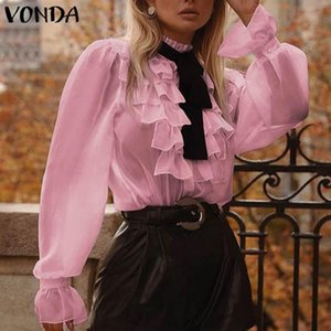 Vonda Donne Manica lunga Tops Roffled Blusa 2021 Vonda Bohemian Tops Fashion Shirt femminile Ufficio BlusAS Femininas Plus Size