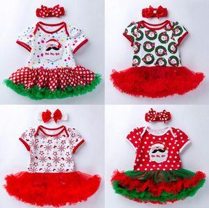 2Pcs Set Bow Pearl Headwear Newborn Baby Girl Santa Claus Costume Elk Xmas Tutu Romper Fancy Luxury Mesh Lace Dress 0-24M