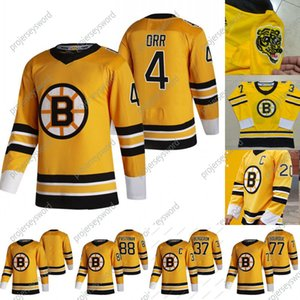 Boston Bruins 88 David Pastrnak 2020-21 Jersey de hockey rétro revers 4 Bobby Orr 37 Patrice Bergeron 77 Ray Bourque Glace Hockey Jerseys