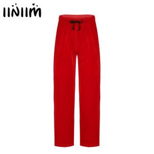 Mens Velvet Santa Pyjama Bottoms Loose Trousers Cosplay Costume Elastic Waistband Drawstring Christmas Long Pants with Pocket
