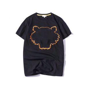 Летние футболки для мужчин Топы Tight Tiger Head с буквой вышивкой футболка мужская одежда с короткими рукавами футболки унисекс тройники S-2XL