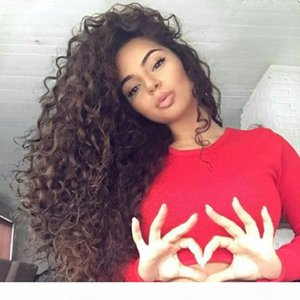 150% density Lace Front Wig Color #4 Body Wave 100% Brazilian Kinky Curly Human Hair Lace Wigs Top quality Hair Products