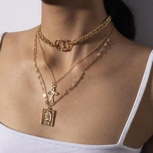 Youvanic Fashion Multilayer Virgin Mary Cross Pendant Choker Necklace For Women Gothic Gold Chain Collar Statement Jewelry 2610