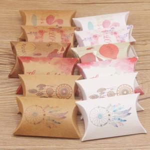 Coussin d'oreiller en papier Candy Box 8x5cm Kraft Paper Boîtes De Mariage Anniversaire Baby Douche Faveurs Étui de paquet