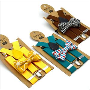 Kids Suspenders Bow Laço Grupo Meninos Manta Impresso Suspensos Grade Elastic Y-Suspensórios com Laço Cinto de Forma Bebê Bebê Chapete Retro Gwe3686