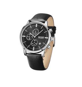 Прибытие с временными рисунками Дизайнеры Autodate Продажа Кожаный ремень Мегир Часы Мужские Часы Модные наручные часы Бесплатные