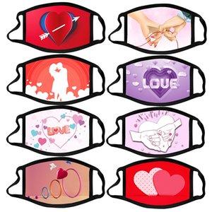 valentines women man face mask anti-dust cartoon masks washable reusable mask print love party favor kimter