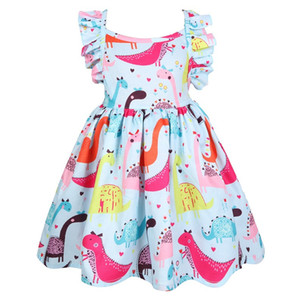 2019 Baby Girls dinosaur Dress Summer Children Princess Dress Animal Pattern Christmas Costume for Kids Hollow backless Dresses Y1201