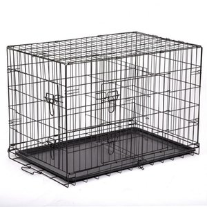 "36"" Pet Kennel Cat Dog Folding Crate Wire Metal Cage W Divider"
