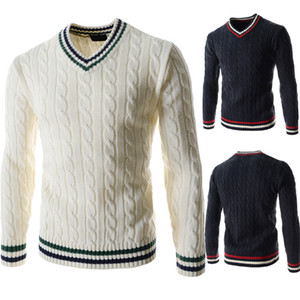 Mens Pullover Sweaters Fashion Panelled Natural Color Sweaters Casual V-Neck Long Sleeve Sweaters Clothing for Mens