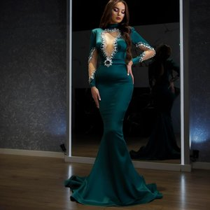 Robe De Soiré Hunter Green Beaded Crystals Prom Dress High Neck Long SLeeves Arabic Aso Ebi Evening Party Gowns