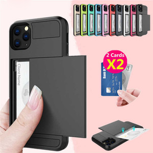 Custodia da portafoglio per iPhone 12 11 Pro XS XR Pro Max 7 8 Plus TPU + PC Slide Cards Shell Custodia per Samsung Galaxy Phone