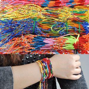 Hot 100 Pcs Lot Handmade Weave Friendship Bracelet Brazil Cheap Colorful Rainbow Woven Braided Rope Thin String Strand Bangles Y1119