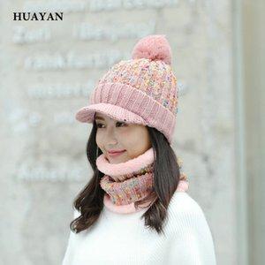Huayan Ring Scarf Brea Hat 여성을위한 비니 겨울 따뜻한 좋은 품질 니트 모자 스카프 세트