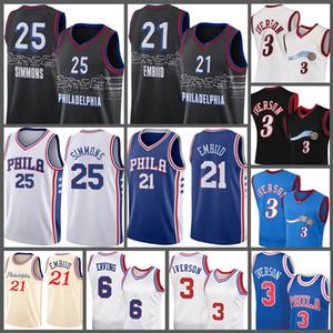 2021 Novo Allen 3 Iverson NCAA Joel 21 Embiid Ben 25 Simmons Basquete Jersey Julius 6 Erving Jerseys Men's