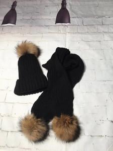Freeshippping 2 pçs / set inverno bebê crianças sólidas cachecol lenço de lã quente malha fofa fofo bola de pele chapéu + cachecol crianças pescoço aquecedor tampão