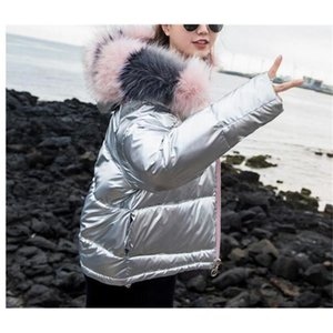 Winter Down Short Jacket Women Hooded Fake Fur Collar Parkas Cropped Coat Female 2021 Fashion Women's Thick Warm Ladies Parka