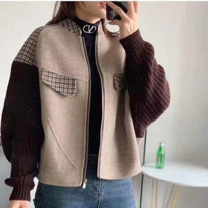Winter New Style European Fashion Loose Short Stitching Retro Woolen Jacket Knitted Sleeves Plud Size M-3XL Wool Coat