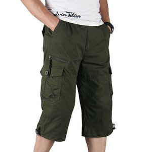 Men's Cotton Cargo Shorts Summer Overalls Multi Pocket Long Length Casual Pants Male Tactical Shorts Hot Breeches
