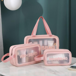 pu transparent three-piece makeup wash bag large capacity pvc bath bag translucent frosted portable storage bag female