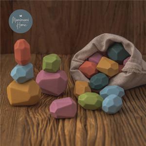 Pietre di legno Montessori giocattolo Creativo stile nordico Stacking Rainbow gioco Jenga Set Bilanciamento Building Blocks Toy Toy Regalo Q1217