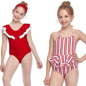 Venda Quente Crianças Swimwear Criança Moda Equipamentos de Praia Esportes Água Rosa Red Stripe Roxo One-Piece Swimming Natação de Verão