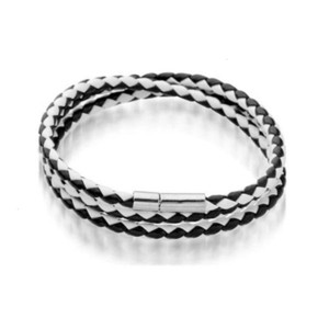 fashionUJ91Stainless Mens Leather Bangle Bracelets Black Brown Mesh Magnetic Steel Clasp Double Wrap Wristband Beautiful