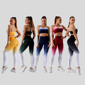 Original new yoga suit custom running sports fitness beauty back bra tight-fitting hip pants two-piece wholesale