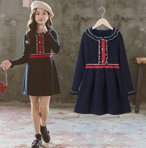 Girls Falbala Collier Robe à tricoter Preppy Style Enfants Volants À Manches longues Robe Lady Navy Pull Robe A5331