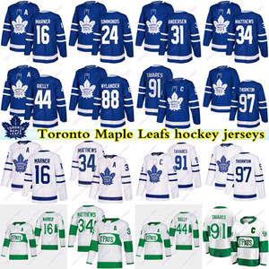 토론토 메이플 leafs 저지 91 John Tavares 16 Mitch Marner 34 Auston Matthew 97 Thornton 24 Simmonds 88 Nylander 44 Rielly Hockey Jerseys
