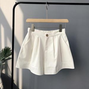 Casual Tencel Shorts Women 2020 Summer New High Waist Bandwidth Loose Wide Leg Pants Black