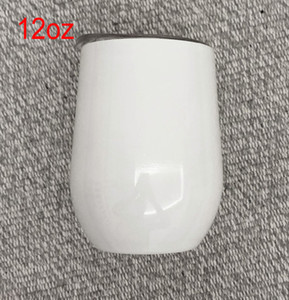 Blank Sublimation Wine glasses 12oz white Stainless steel egg cup 12oz stemless wine tumbler for heat transfer printing DIY photo cup