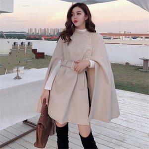 Корейский высококачественный новый стиль сплошной цветки накидка пончо пальто женщины 2020 осень элегантный сбор талии шерстяные шерстяные пальто средней длины LJ201110