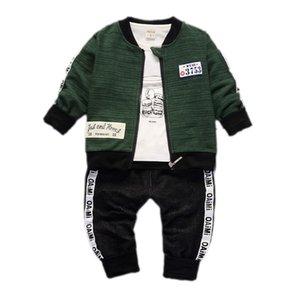 Boys Girls Ropa Set Fall Infant Baby Manga larga Camiseta + Coat + Pantalones 3pcs Trajes Toydler Childern Casual Traje A0078 201126