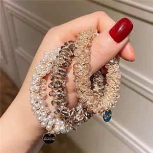 Crystal Hair Scrunchies Fashion Braccialetto Braccialetto per capelli Cravatta Capelli Bands Corde Porta coda di cavallo per le donne ragazze