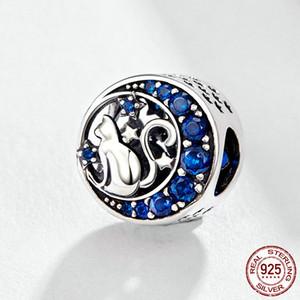 925 Sterling Silver Cat Pet Animal Charm Beads Fit Bracelets Original Naughty Blue CZ Bead DIY Jewelry Making accessorize jewellery