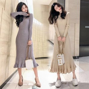 sweater dress women thick mermaid maxi o neck long sleeve knitted dress 2019 autumn winter elegant female a line slim sexy