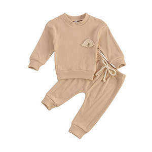 Toddler Baby Girl Boy Clothes Autumn Solid Set Rainbow Embroidery Long Sleeve O-neck Tops Pullovers+Pants 2PCS Outfit