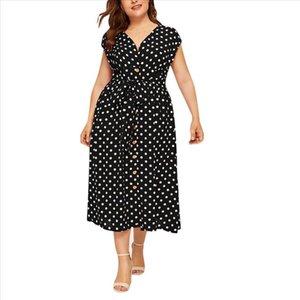 Summer Dress Plus Size Polka Dot Maxi Dresses Bohemian Beach Holiday Womens Clothing Sleeveless V Neck Buttn Bandage Vestido 0