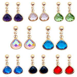 New Colorful Teardrop Crystal Earrings Simple Wild Rhinestone Earring Birthday Stone Charm Ear Drop For Women Designer Jewelry Accessories