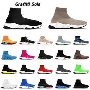 sock shoes platform designer luxurys shoes graffiti claro sola nova chegada sapatos de meia designer plataforma masculino feminino triplo bege étoile tênis vintage casual tênis